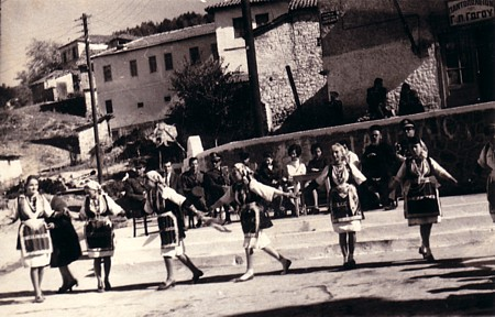 Dancing in the village centre